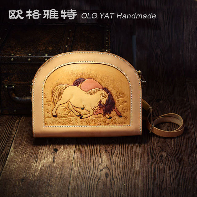 7bd04eb0b3 YAT handmade women bags lady Shoulder bag Italian Vegetable tanned leather  handbag Hand-carved Double horse Cowhide pure