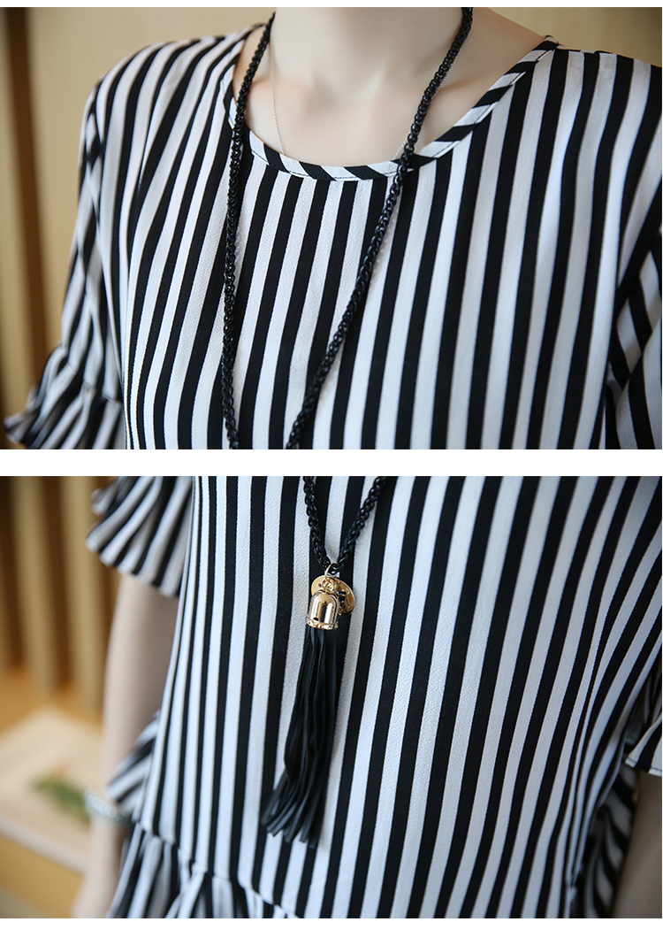 XL -4XL New women's clothing big yards wide leg korean fashion stripe pleated chiffon blouse suits summer two-pcs set loose 20