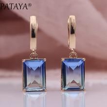 PATAYA New Square Gradient Blue Long Earrings Women Fashion 585 Rose Gold Fine Jewelry Tourmaline Zircon Glass Dangle Earrings