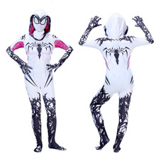 Girls Gwen Stacy Cosplay Costume Zentai Spider Gwen Stacy Costume Halloween Costume For Kids Superhero Bodysuit Suit Jumpsuits stacy wolff promed 90