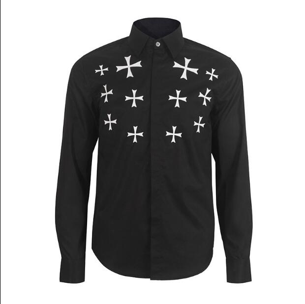 New Arrived 2019 mens The cross printed work shirts Brand soft Long sleeve square collar regular men dress shirts black male top
