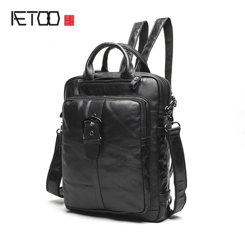 AETOO New men bag shoulder bag male Korean version of the first layer of leather students backpack retro men multi-functional Me oxford bag korean version of the female students shoulder bag large capacity backpack canvas backpacks