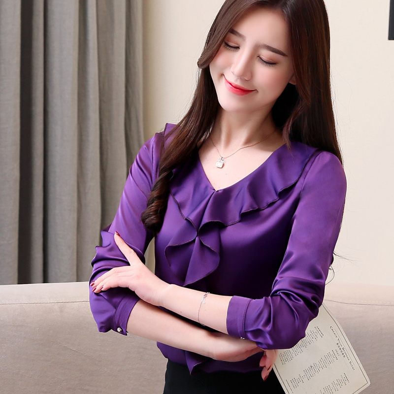 18b914bd76 womens tops blouses blusas mujer de moda 2019 chiffon blouse Ruffles Solid  V-Neck harajuku long sleeve shirts plus size 2331 50