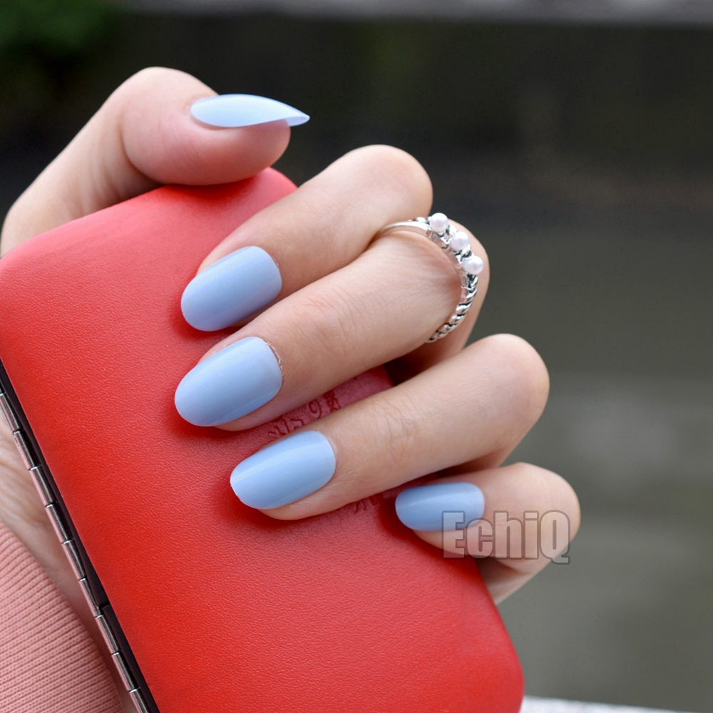 24pcs Oval Round Fake Nails Candy Baby Blue Acrylic Nails Full Cover ...