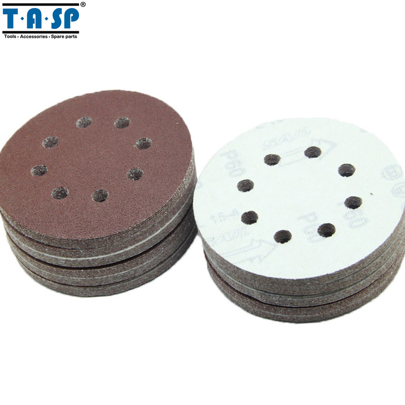 TASP 100 Pieces 125mm Hook & Loop Sand Paper Abrasive Sanding Paper Power Tools Accessories Grits 60 to 1500