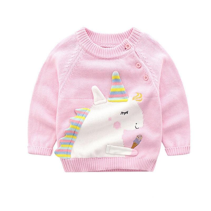 Baby Girl Clothes Long Sleeve Unicorn Print Sweater Boys Girls Autumn Warm Outerwear Children Clothing Unicorn Pullover D0981 rabbit print pullover