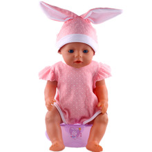 hot deal buy doll accessories,rabbit ears hat + jumpsuits wear fit 43cm baby born zapf, children best birthday gift n293