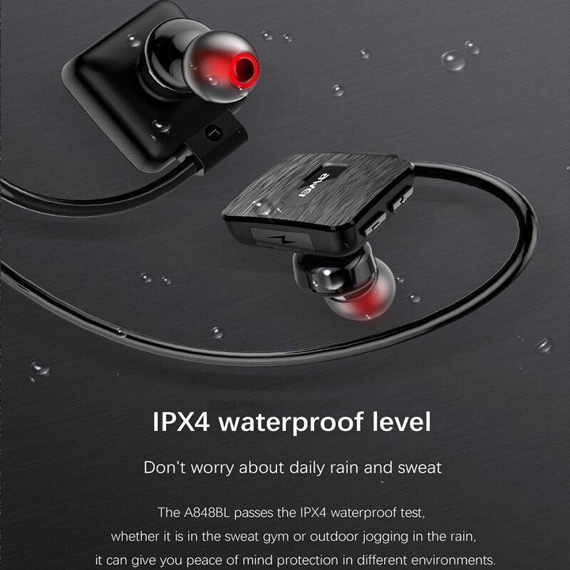 AWEI A848BL Wireless Sports Headset bluetooth wireless waterproof earphone with microphone Music Stereo Earbuds black headphones 3