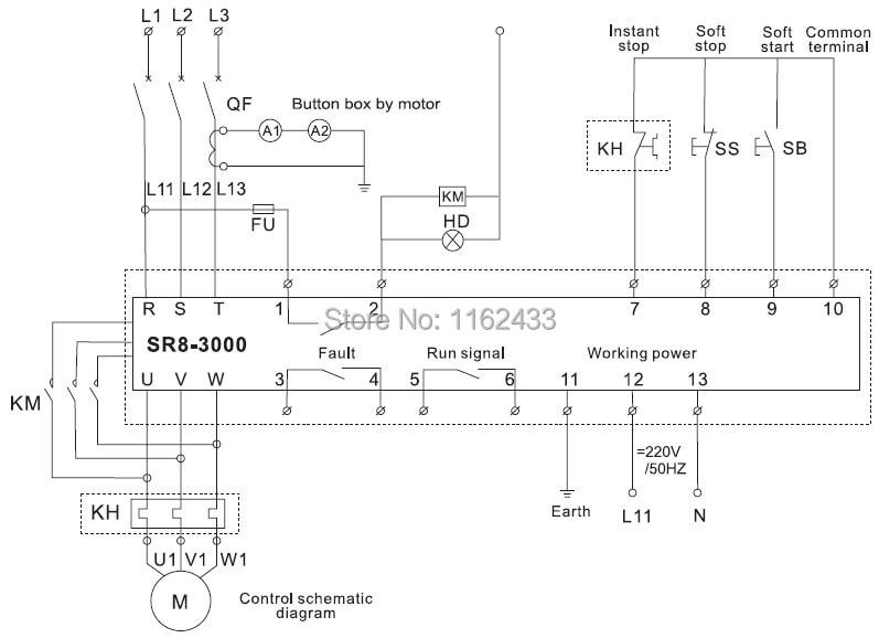 sr8 3260 260kw soft starter for three phase ac asynchronous motor rh aliexpress com soft starter wiring diagram Soft Start Schematic