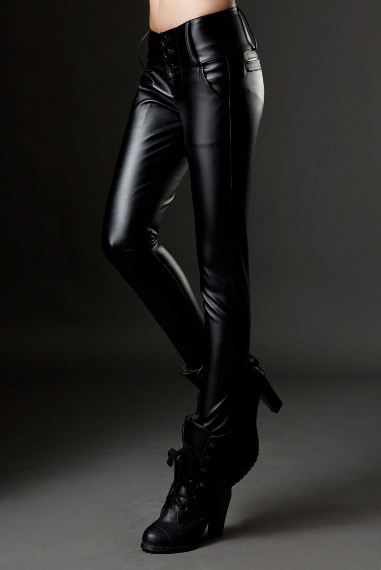 b85ac29872 2016 New Faux Leather Pants for Women Sexy High Waisted Trousers Leggings  Casual Lady PU Fitness Skinny Pants Black-in Pants & Capris from Women's  Clothing ...