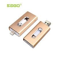 Sago i-Flash Drive 8 gb 32 gb 64 gb Hoge snelheid USB 3.0 Pen Drive/Otg Usb Flash Drive Voor iPhone 8/5 s/5c/6/6 Plus/7/Micro usb telefoon