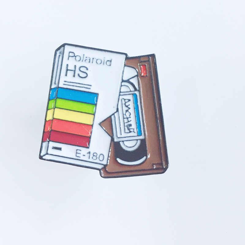 Kartun Pin Kamera Bros untuk Wanita 3 Warna Pelangi Kamera Digital Enamel Pin Bir Catatan Mantel Topi Fotografi Anak-anak Lencana