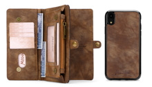 Luxury Leather Multifunctional  Business Wallet Zipper Case Detachable Magnetic Back Cover For iPhone 7 8 plus
