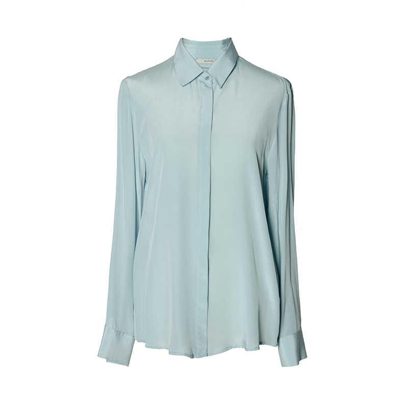 100% настоящая шелковая простая блузка женская с длинным рукавом Шифоновая шелковая блуза Женская Офисная Свободная рубашка 2017 новая белая розовая серебристая
