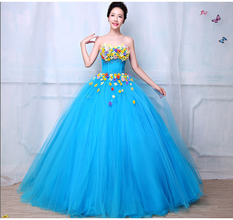 Sky Blue Silk Flowers Beading Ball Gown Medieval Dress Queen