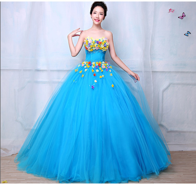 sky blue silk flowers beading ball gown medieval dress queen ...