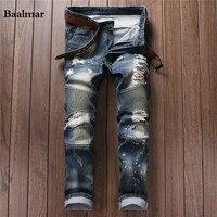 2017 Nieuwe Mode mannen Verontruste Jeans Met Gaten Zuur Gewassen Vintage Casual Denim Broek Jeans Voor Mannen