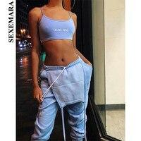 SEXEMARA Cotton Fleece Large Pocket Overalls for Women Sexy Romper Jumpsuit Suspenders Streetwear Casual Pants Joggers C76 AG77