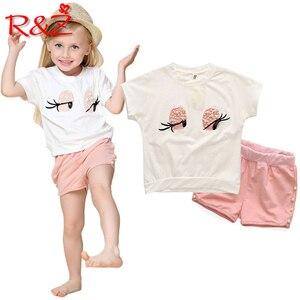 R & Z Vestito dei bambini 2019 Ragazze di Estate Vestiti Set Bella Ciglia Lunghe Della Ragazza Del Bambino Magliette e camicette Pantaloni Delle Ragazze Del Vestito abbigliamento per bambini(China)