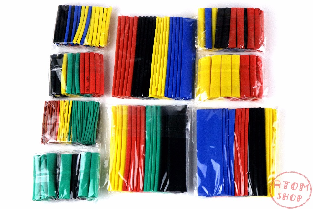 sale 328pcs 2:1 Polyolefin Shrinking Assorted Heat Shrink Tube Wrap Wire Cable Insulated Sleeving Tubing Set 8 size 5 colors