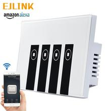 EJlink Smart Wifi Switch Works with Alexa Google Home Voice Control APP Remote Control Glass Panel Touch Switch wifi intelligent remote control touch switch alexa voice control app remote control smart switch