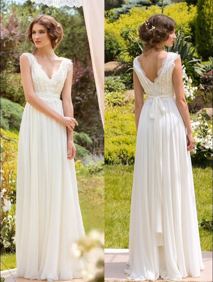 Summer A Line Lace Chiffon Informal Boho Beach Wedding Dresses Vestido De Noiva 2017 Flowy Bohemian Robe Mariee New In From