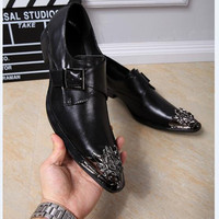 New Fashion Spring Autumn Black Italian Shoes Brand Mens Dress Loafers Oxfords Leather Pointed Toe Lace