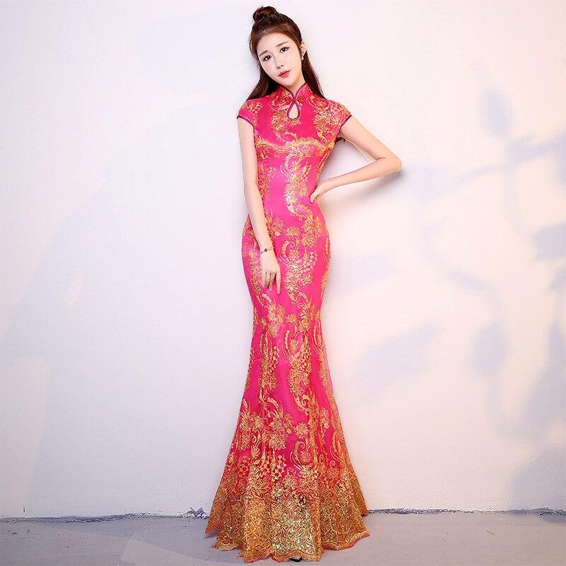 a15410ca2 Nacional chino sirena largo Cheongsam mujeres lentejuelas moderno Qipao  elegante damas vestido de fiesta vestido de