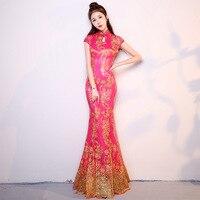 Chinese National Mermaid Long Cheongsam Women Slim Sequins Modern Qipao Elegant Ladies Evening Party Dress Gown Size S 3XL