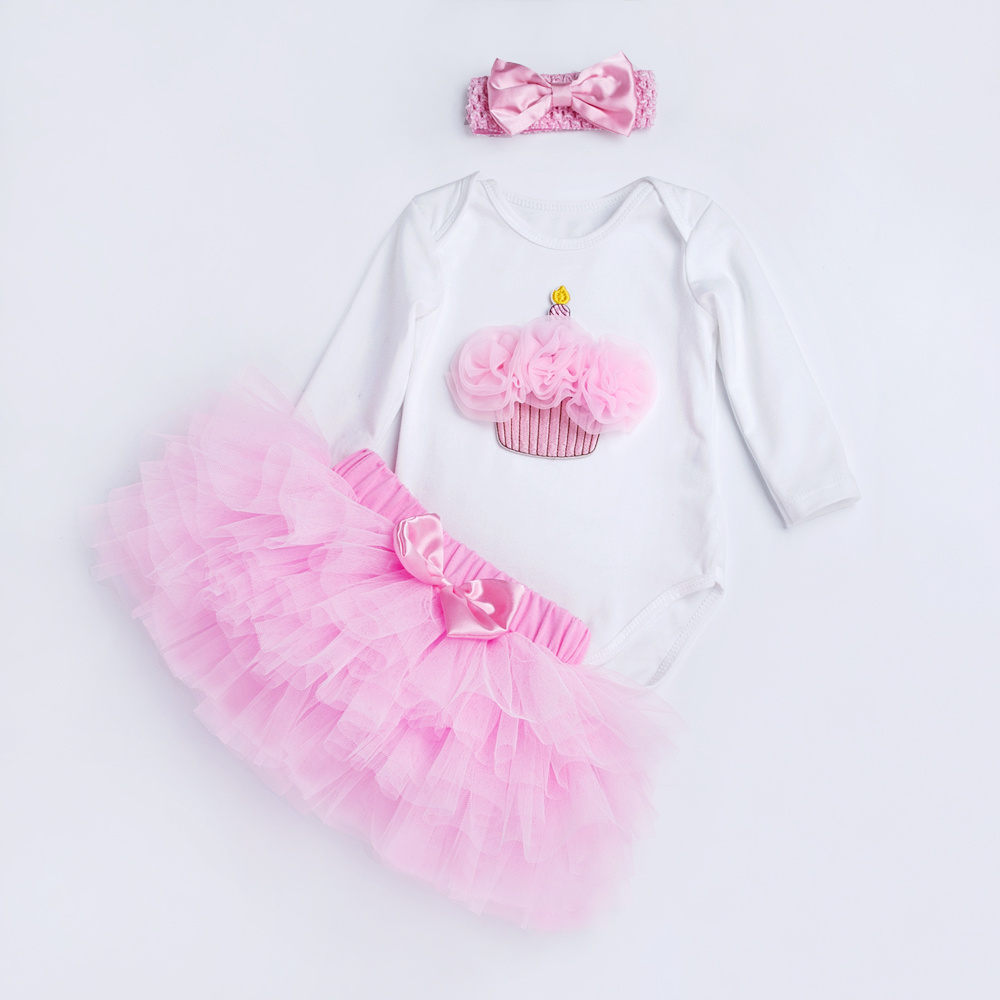 YK&Loving Pink Baby Girls Birthday Clothing Sets 3Pcs Long Sleeve Romper +Tutu Skirt Newborn Girls Kids Clothes Hot Bow Tulle 9 colors newborn baby girls handmade soft tulle tutu skirt head flower outfits photography props birthday photo shoot gift t1