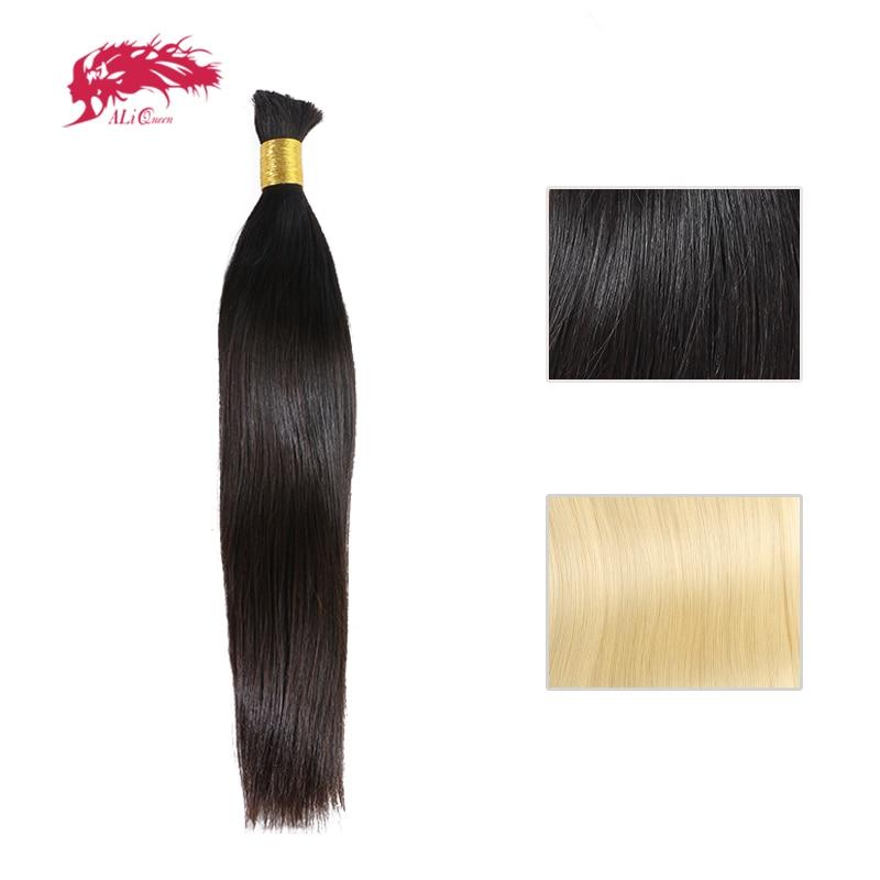 Ali Queen cheveux produit 100% cheveux humains brésilien droit vierge Extensions de cheveux naturel noir ou #613 en vrac cheveux livraison gratuite