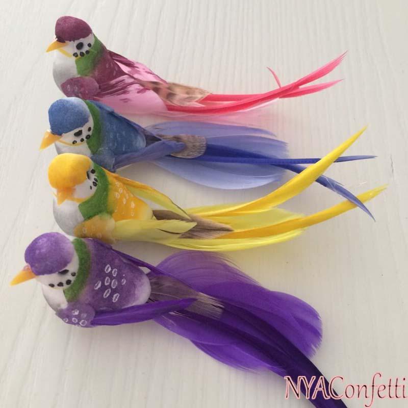 12 UNIDS, 12 * 3 CM Boda Favores Aves Pluma de Espuma Artificial Decorativo Mini Pájaro Con Imán Para Artesanía DIY, Decoración de Navidad