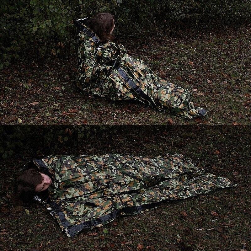 brand new 17ea7 93874 Camouflage Überleben Notfall Schlafsack Thermische Halten Warme  Wasserdichte Mylar Erste Hilfe Notfall Decke Outdoor Camping