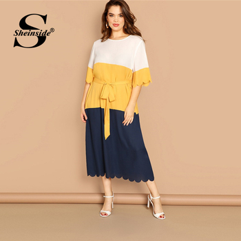 Sheinside Plus Size Scallop Trim Patchwork Dress Women 2019 Spring Elegant Belted Midi Dresses Casual Half Sleeve Straight Dress