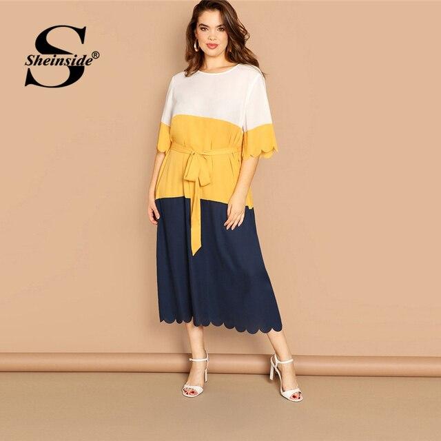 Sheinside Plus Size Scallop Trim Patchwork Dress Women 2019 Spring Elegant Belted Midi Dresses Casual Half Sleeve Straight Dress