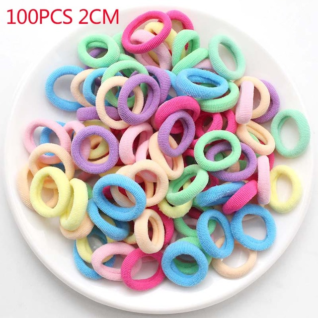 100pcs/lot kids Hair Accessories Scrunchy Elastic Hair Bands Decorations Girls Headbands Rubber Bands ties Gum for Hair