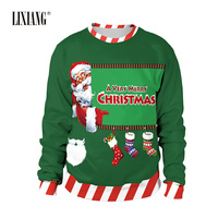 2018 New Fashion Unisex Women Men Christmas Printed Sweatshirt Pullover Snow Llama Reindeer Hoodies
