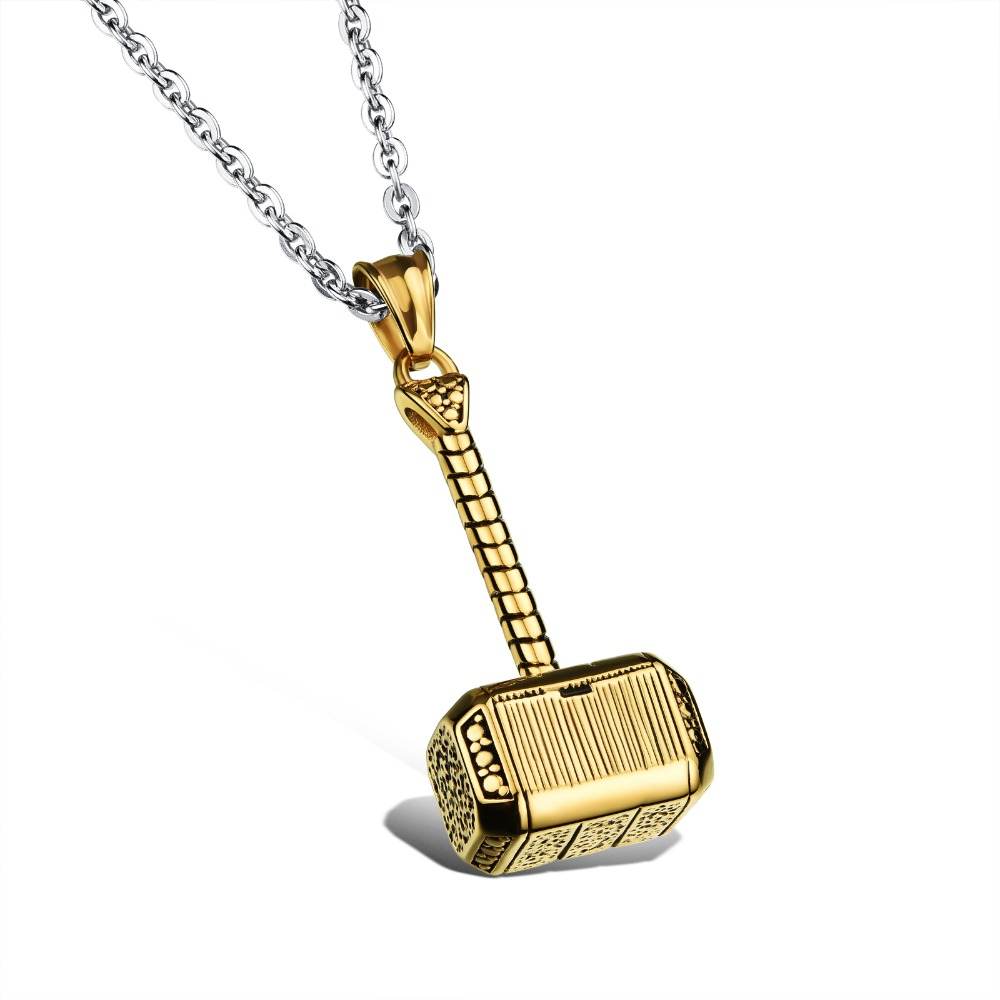 316L Stainless Steel Men Necklace Thor Hammer Fashion Pendant Necklaces Cool  Men Jewelry 2 colors white, gold wholesale GX1000-in Pendant Necklaces from  ...