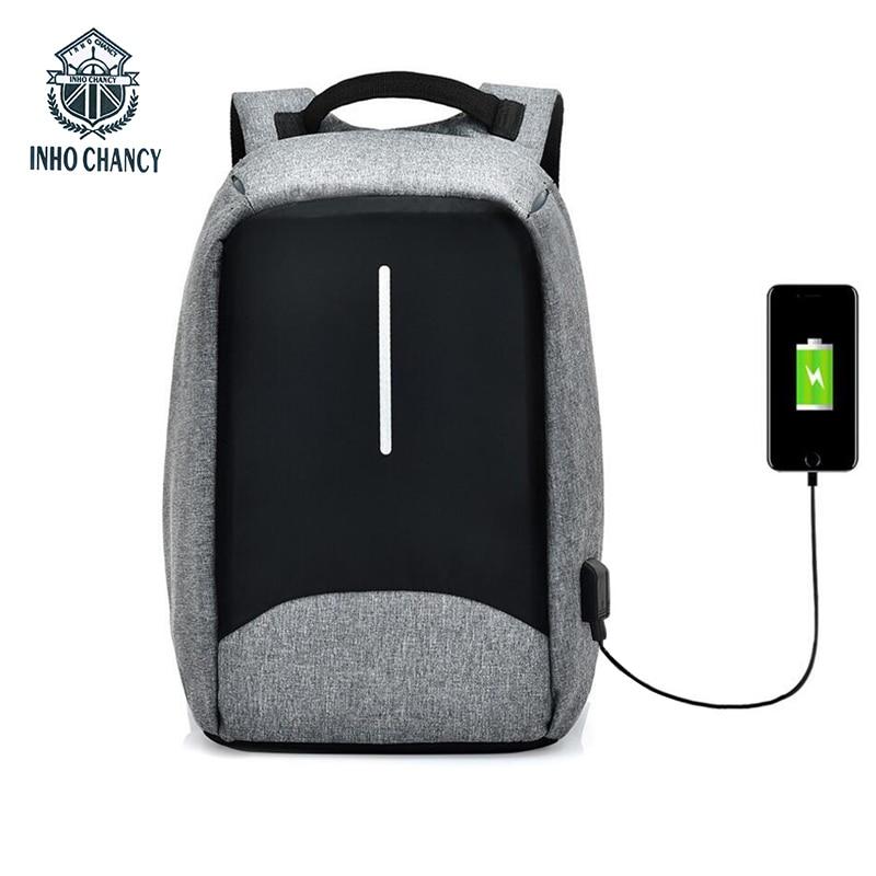 INHO CHANCY Brand Multifunctional USB Charging Travel Back Pack Men 15 Inch Laptop Bag Waterproof