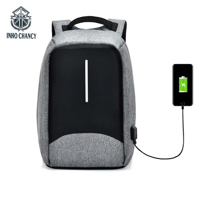 INHO CHANCY Marke Multifunktionale USB Lade Reise Zurück Pack Männer 15 Zoll Laptop-tasche Wasserdichte Schutz Gegen Diebstahl Rucksack
