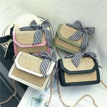 цена Women Fashion Straw Bowknot Shoulder Bag Lady Handbag Leather Crossbody Bag Ladies Bow Pactwork Shoulder Bags Women Handbags в интернет-магазинах