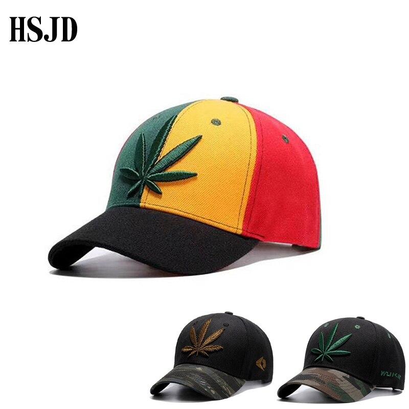 2017 New Rainbow Patchwork Spring Hemp Leaves   Baseball     Caps   For Women Men Fashion Camouflage Brim Hip Hop Snapback Hats Leaf   Cap