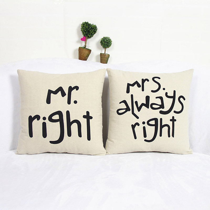 New Very soft pillow cushion case cover Mr right&Mrs always right quote print pillow slip linen cotton on sale