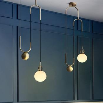 Glass Ball LED Pendant Light Retro Loft Restaurant Dining Room Pendant lamp Creative Pulley Designer Lamp Hanging Light Fixtures