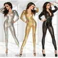 Black Gold Silver Adult Women Sexy Shiny Leather Latex Jumpsuit Hollow Out Hole DJ Dance Catsuit Exotic Clubwear PVC Bodysuit