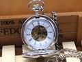 Рука Ветер Механический Карманные Часы 2 Стороны Открыты Случае Моды для Мужчин Скелет Часы Стимпанк Старинные Карманные Часы С Цепочкой