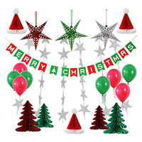 FANLUS Christmas Party Paper decorations for Party Indoor and Outdoor Honeycomb hat balloon Festival Banner