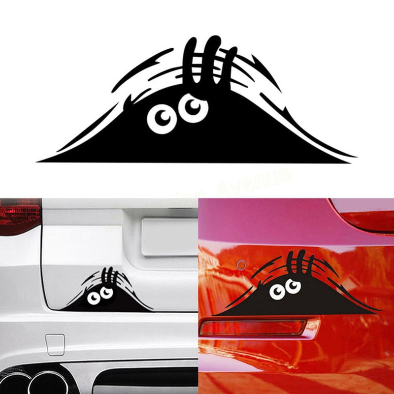 Car Stickers Funny Creative 3D Big Eyes Car Decal Black Sticker Peeking Monster 19x7CM Auto Products Car Accessories(China)