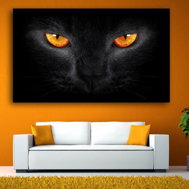 Gatto nero Con Gli Occhi Luminosi di Arte Stampe Poster Grande Immagine Della Parete della Tela di Canapa Pittura Per Soggiorno Decorazione Domestica No Frame