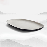 Japanese style Vintage Ink White Ceramic Rough Pottery Home Tableware Fish Long Plate Tea Tray Creative Fruit Dish Large Saucer